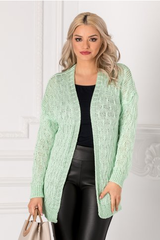 Cardigan verde mint tricotat