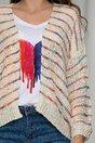 Cardigan Wella bej cu imprimeu in dungi in culori vivide