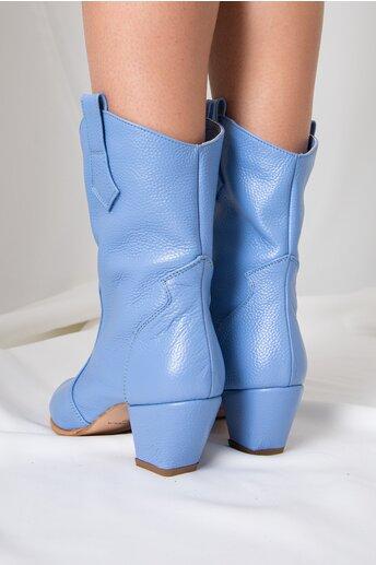 Cizme scurte bleu cu toc jos