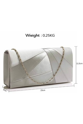 Clutch argintiu din satin cu design geometric