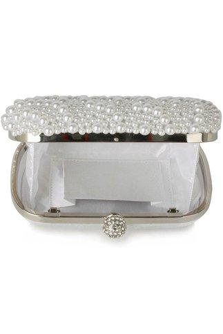 Clutch elegant din perle albe
