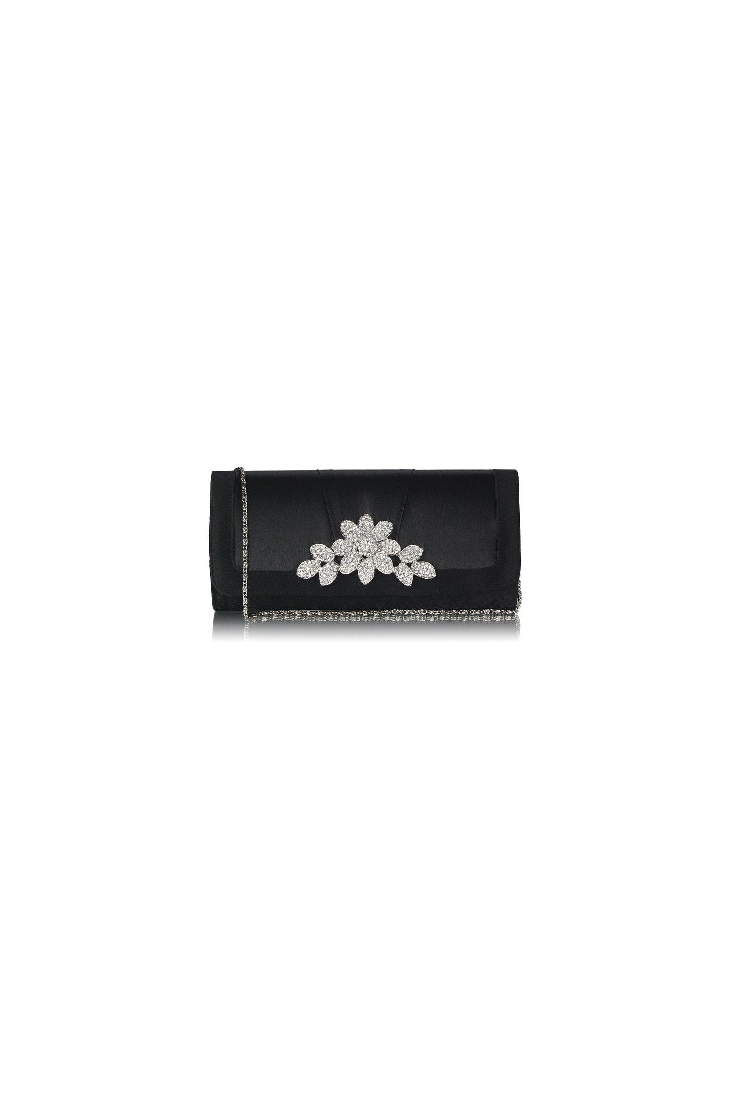 Clutch negru din satin cu accesoriu argintiu tip floare din strasuri stralucitoare
