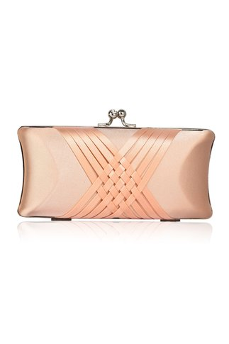 Clutch nude din satin