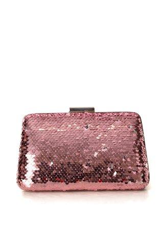 Clutch roz prafuit  cu paiete reversibile
