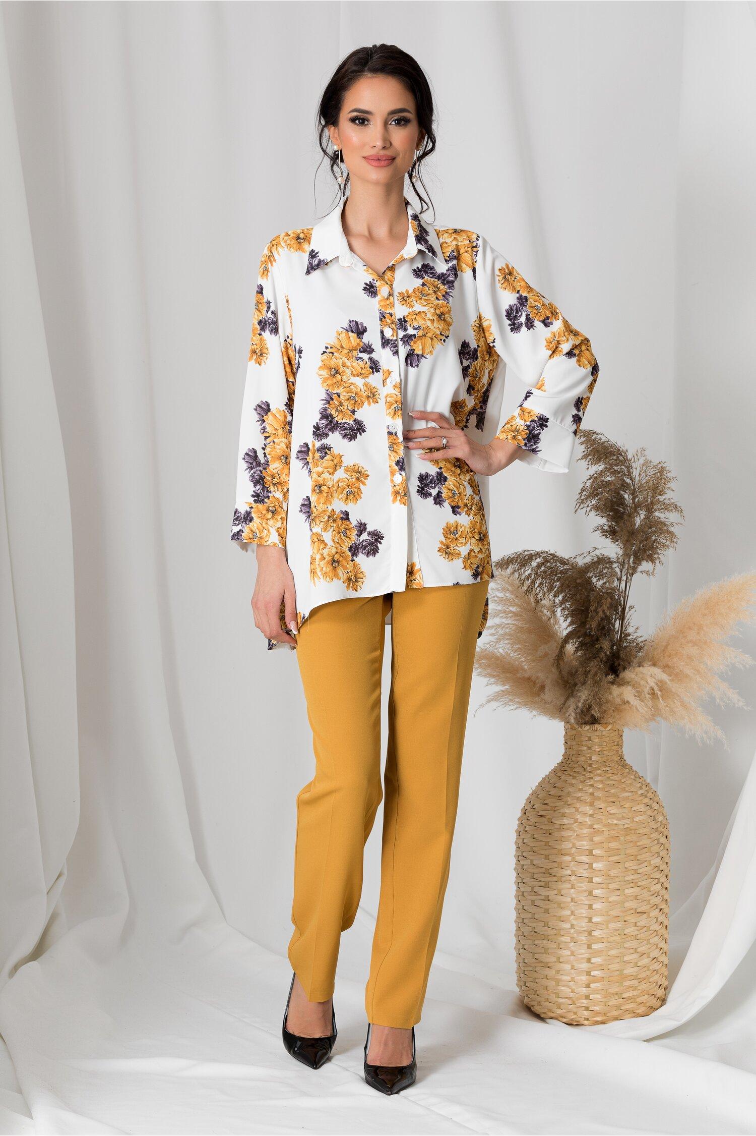 Compleu Adela cu pantaloni galbeni si camasa alba cu flori