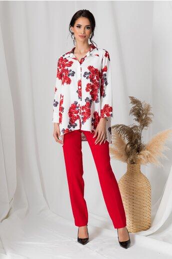 Compleu Adela cu pantaloni rosii si camasa alba cu flori