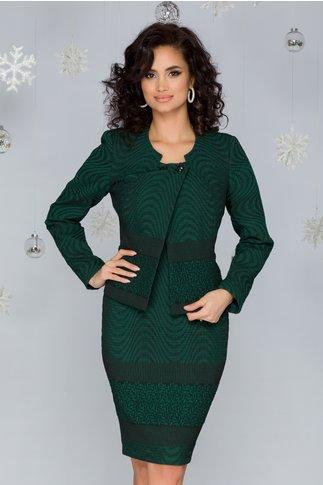 Compleu Adela din brocart verde texturat cu rochie si sacou