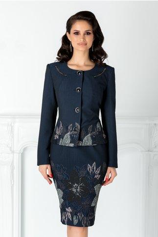 Compleu Aiana bleumarin cu detalii florale gri si negre