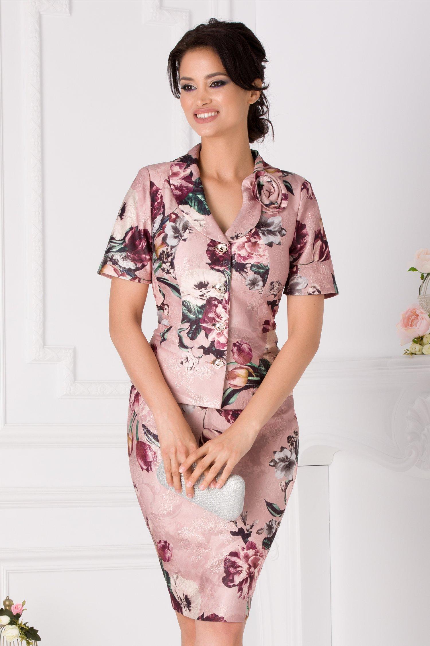 Compleu Andreea roz prafuit cu imprimeu floral si fir stralucitor
