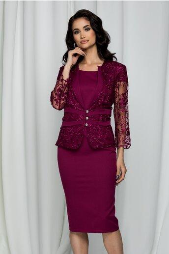 Compleu Eliana magenta cu rochie si sacou din dantela