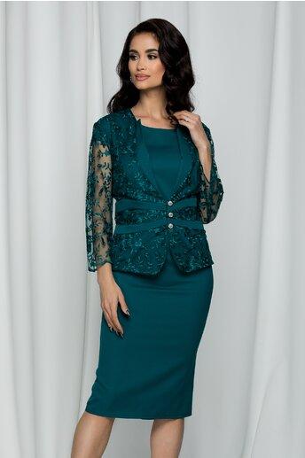 Compleu Eliana verde cu rochie si sacou din dantela