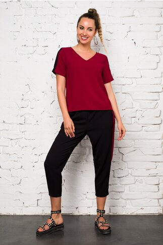 Compleu Ella Collection Valeria cu top bordo si pantaloni negri