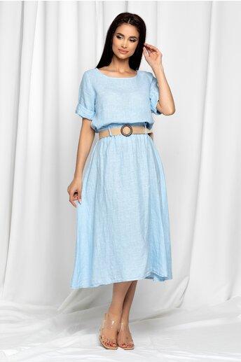 Compleu Fannie bleu din in cu fusta si top