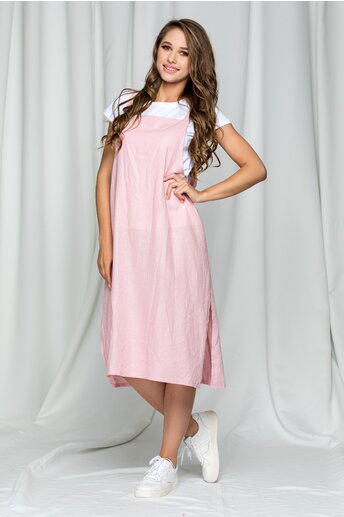 Compleu Felicia roz pudrat cu tricou si sarafan