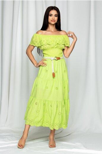 Compleu Fiorella verde cu fusta lunga si cropped top
