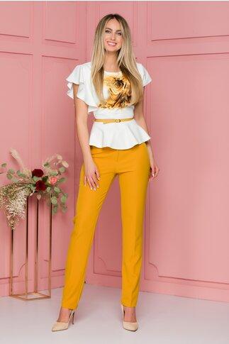 Compleu galben mustar cu bluza cu maneci scurte si pantaloni
