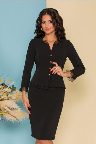 Compleu Ginette negru cu sacou cu volanase si fusta conica