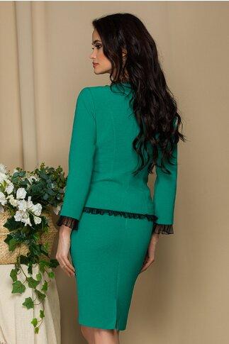 Compleu Ginette verde cu sacou cu volanase si fusta conica