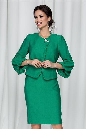 Compleu Ginette verde din doua piese cu fusta