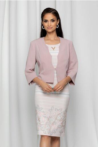Compleu Iasmina roz prafuit format din sacou si rochie