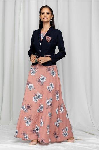 Compleu Iolanda roz prafuit cu rochie lunga si sacou