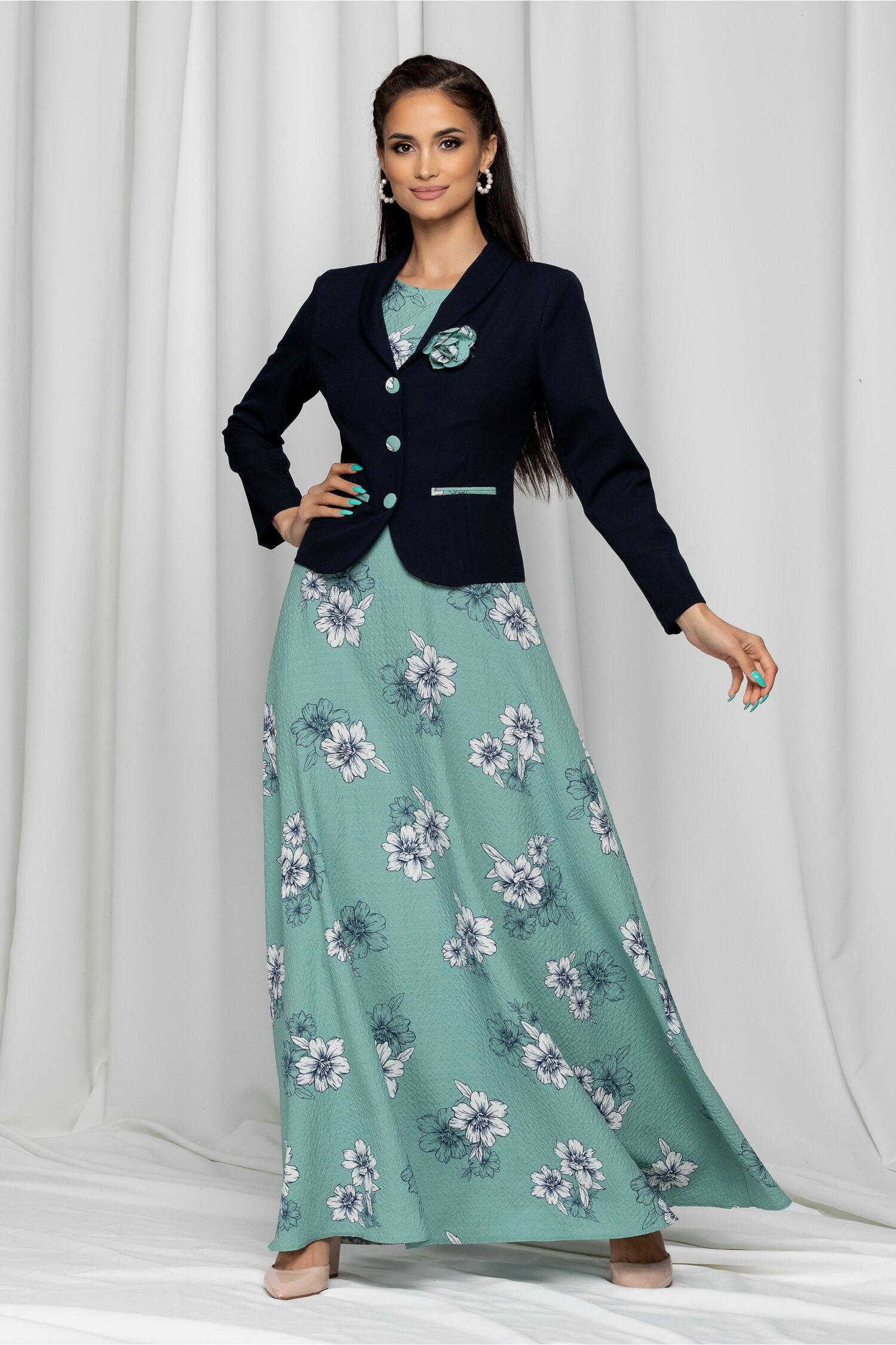 Compleu Iolanda verde cu rochie lunga si sacou