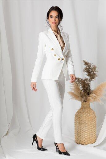 Compleu LaDonna alb cu nasturi aurii pe sacou si pantaloni