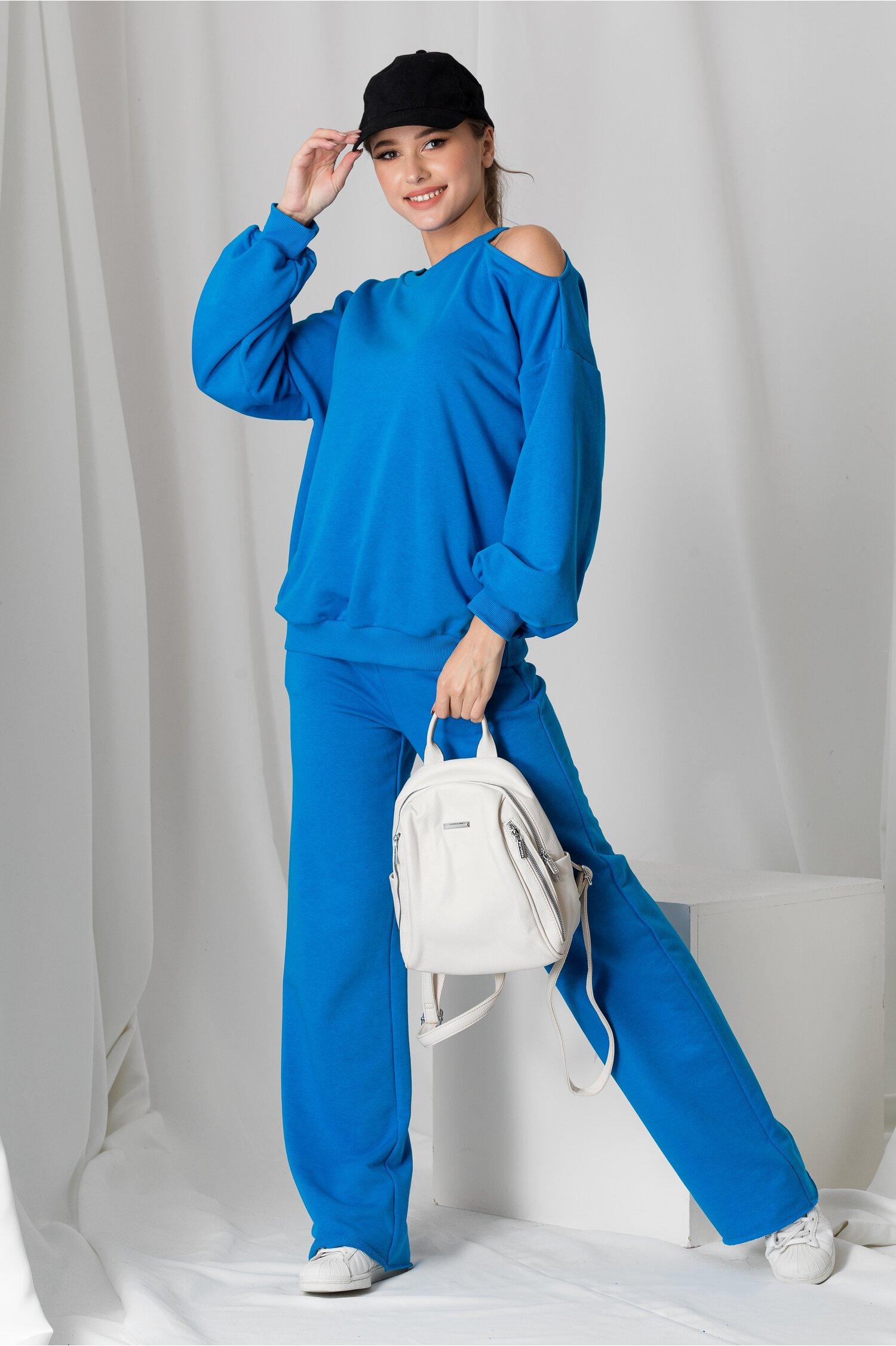 Compleu LaDonna albastru cu bluza cu umar gol