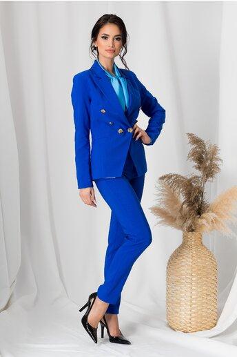 Compleu LaDonna albastru cu nasturi aurii pe sacou si pantaloni
