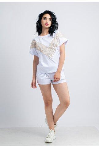 Compleu LaDonna by Catalin Botezatu alb cu tricou si pantaloni scurti cu paiete