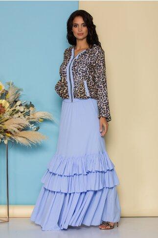 Compleu LaDonna by Catalin Botezatu cu rochie lunga bleu si hanorac animal print