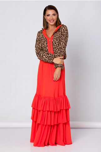 Compleu LaDonna by Catalin Botezatu cu rochie lunga corai si hanorac animal print