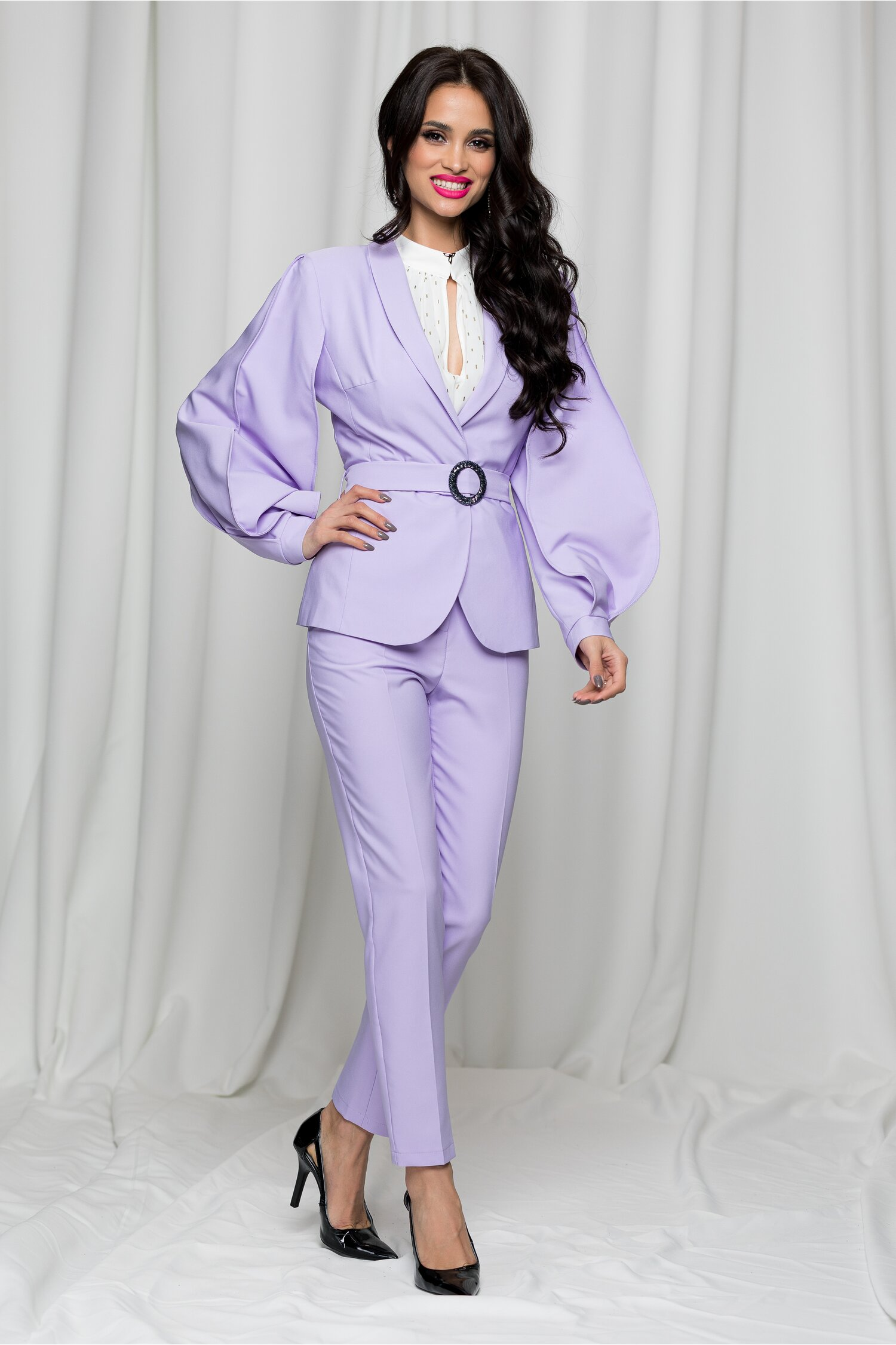 Compleu LaDonna by Catalin Botezatu lila cu sacou si pantaloni