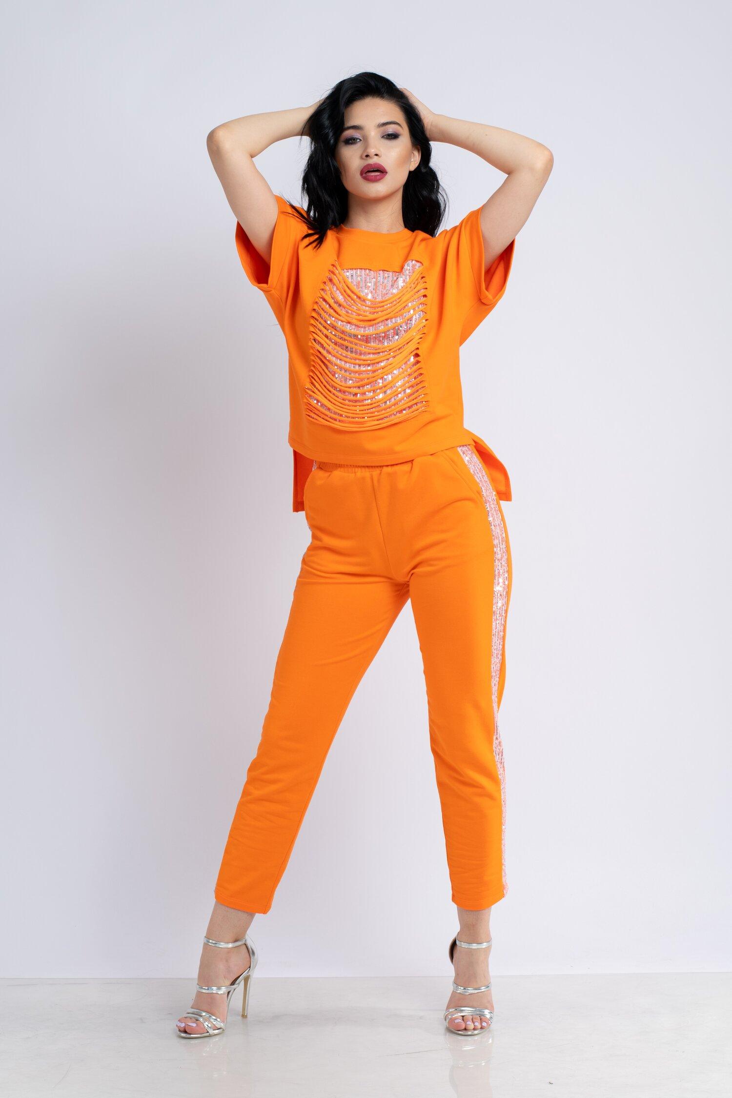 Compleu LaDonna by Catalin Botezatu orange cu franjuri la bust si paiete stralucitoare