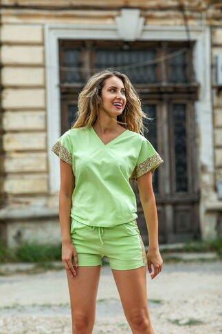 Compleu LaDonna by Catalin Botezatu verde lime cu insertii din paiete