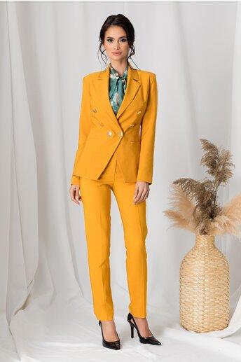 Compleu LaDonna galben mustar cu nasturi aurii pe sacou si pantaloni