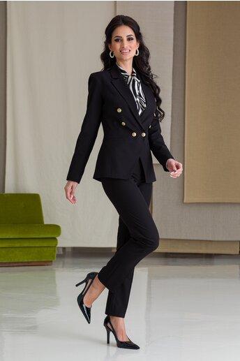 Compleu LaDonna negru cu nasturi aurii pe sacou si pantaloni
