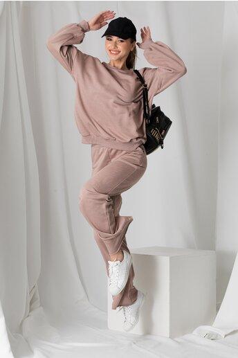 Compleu LaDonna rose taupe cu bluza cu umar gol