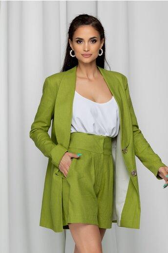 Compleu LaDonna verde deschis cu sacou lung si pantaloni scurti cu talie inalta