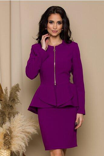 Compleu LaDonna violet cu peplum in talie