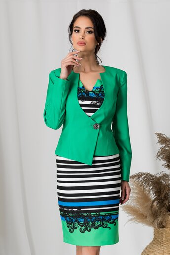Compleu Lara verde cu imprimeu pe rochie