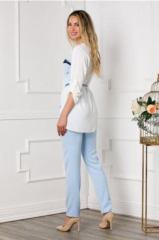 Compleu Larra cu pantaloni bleu si bluza asimetrica cu portret