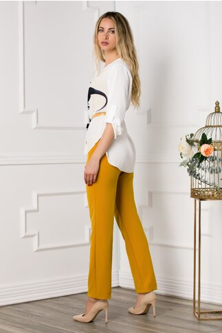 Compleu Larra cu pantaloni galbeni si bluza asimetrica cu portret
