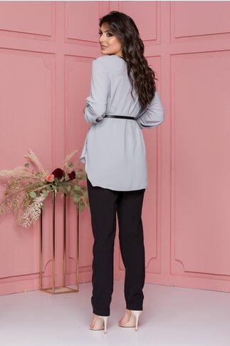 Compleu Larra cu pantaloni negri si bluza asimetrica gri cu maneci reglabile