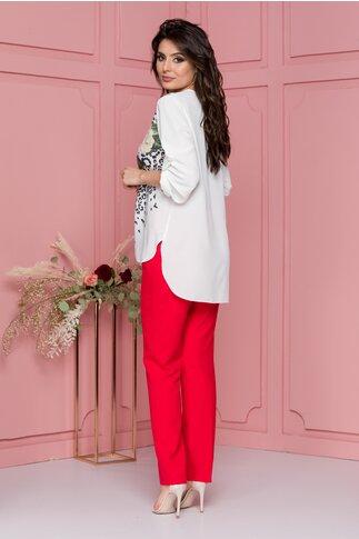 Compleu Larra cu pantaloni rosii si bluza asimetrica cu maneci reglabile