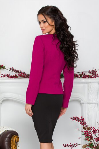 Compleu Leonard Collection cu sacou fucsia si broderie in talie