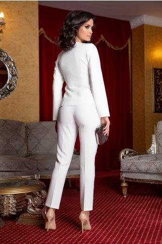 Compleu Leonard Collection ivory cu sacou si pantaloni