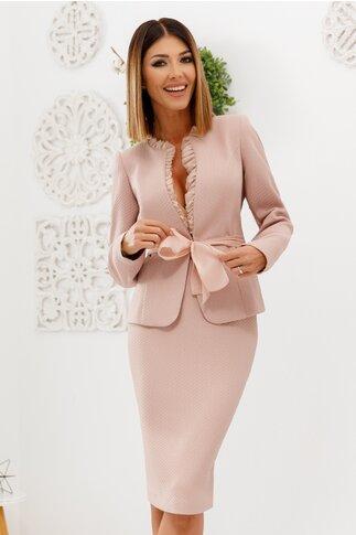 Compleu Leonard Collection roz cu sacou cu volanase si fusta conica