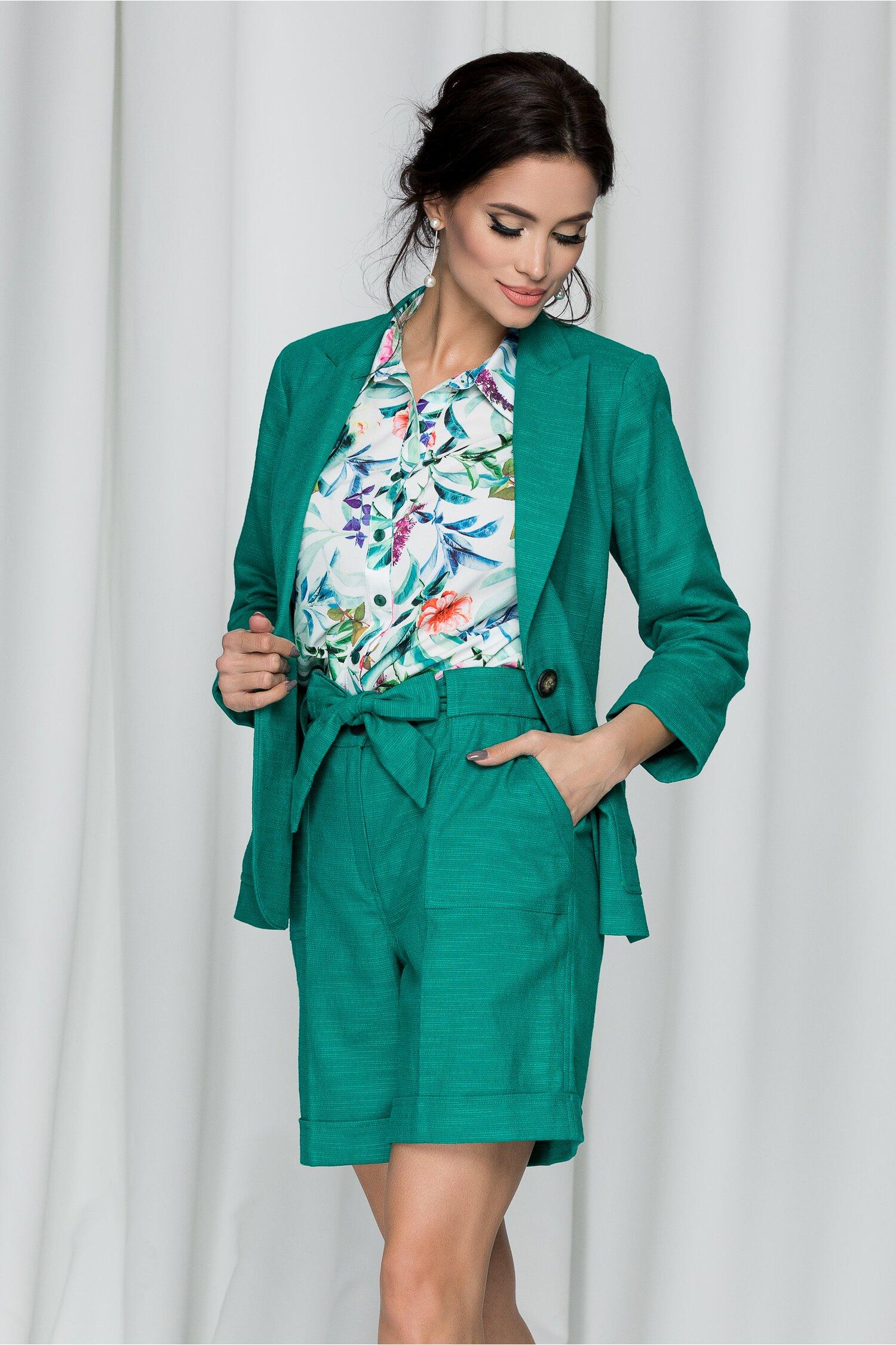 Compleu Leonard Collection verde din doua piese cu pantaloni scurti