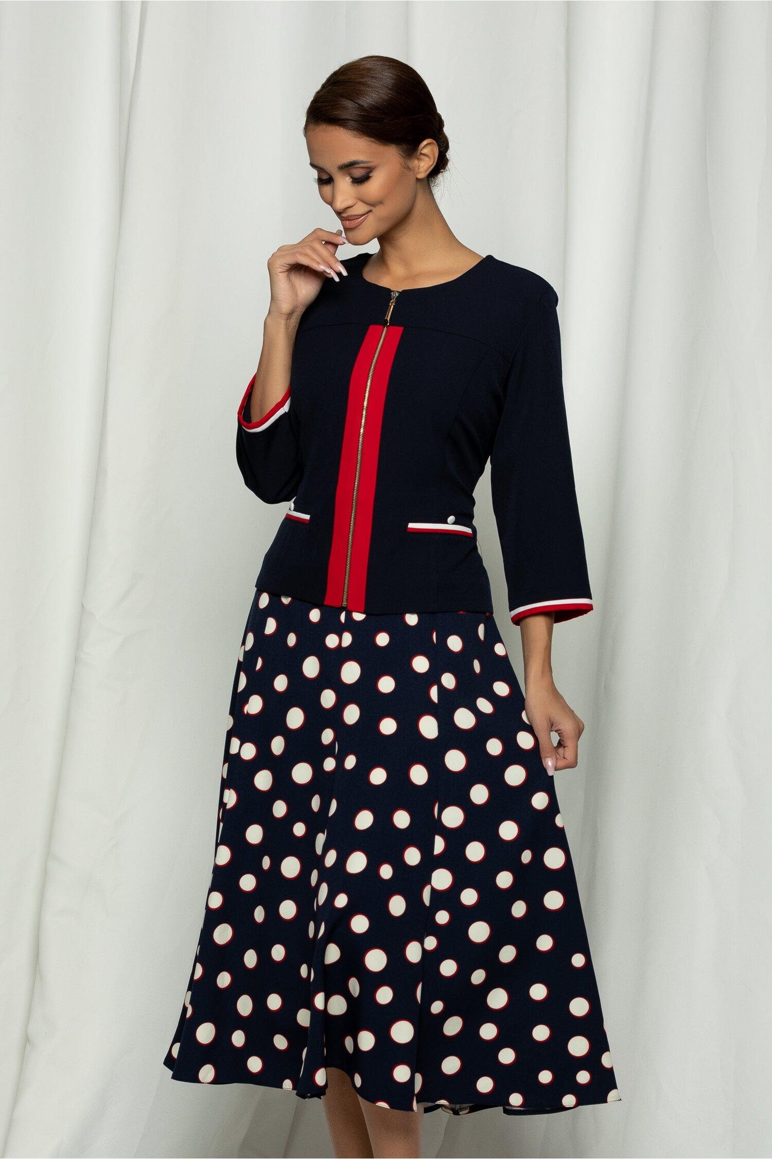 Compleu Maria bleumarin cu sacou si rochie cu buline